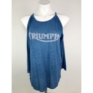 💜Lucky Brand Triumph Cold Shoulder Blue Tee
